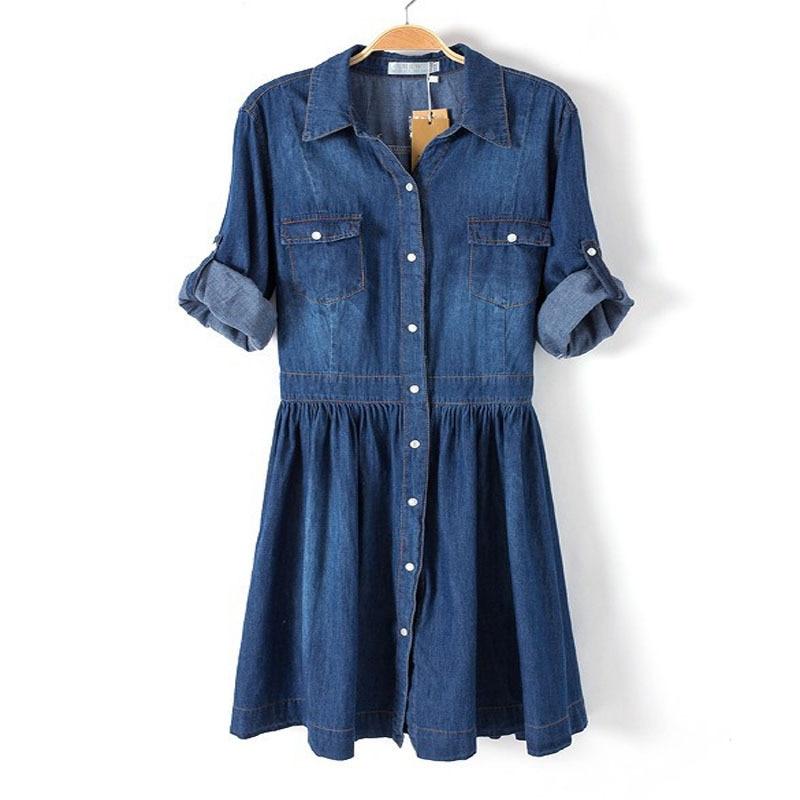 2015 Spring Autumn Casual Dress Ladies Plus Size Blue Denim Dress Half  Sleeve Pleated Jeans Dresses Vestidos Mujer M XXL SJM-in Dresses from  Women s ... 17d747228820