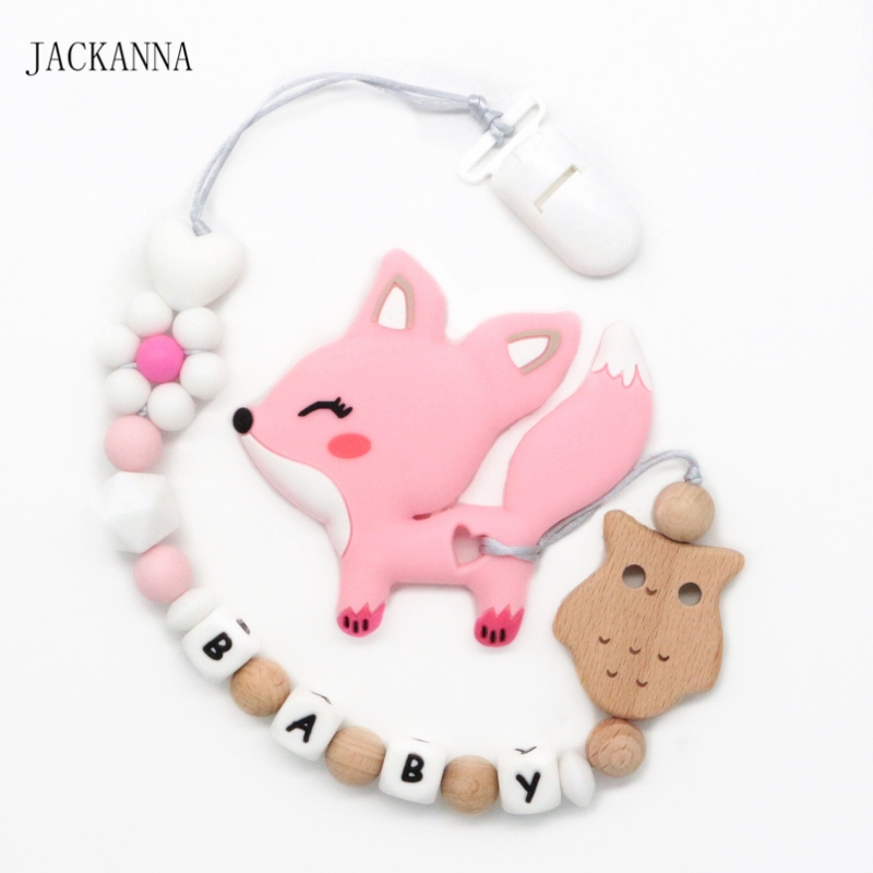 Orange Fox Dummy Clips Personalised Name Girls Baby Pacifier Chain Dummy Holders with Silicone Beads Teething Toys Baby Shower Gifts