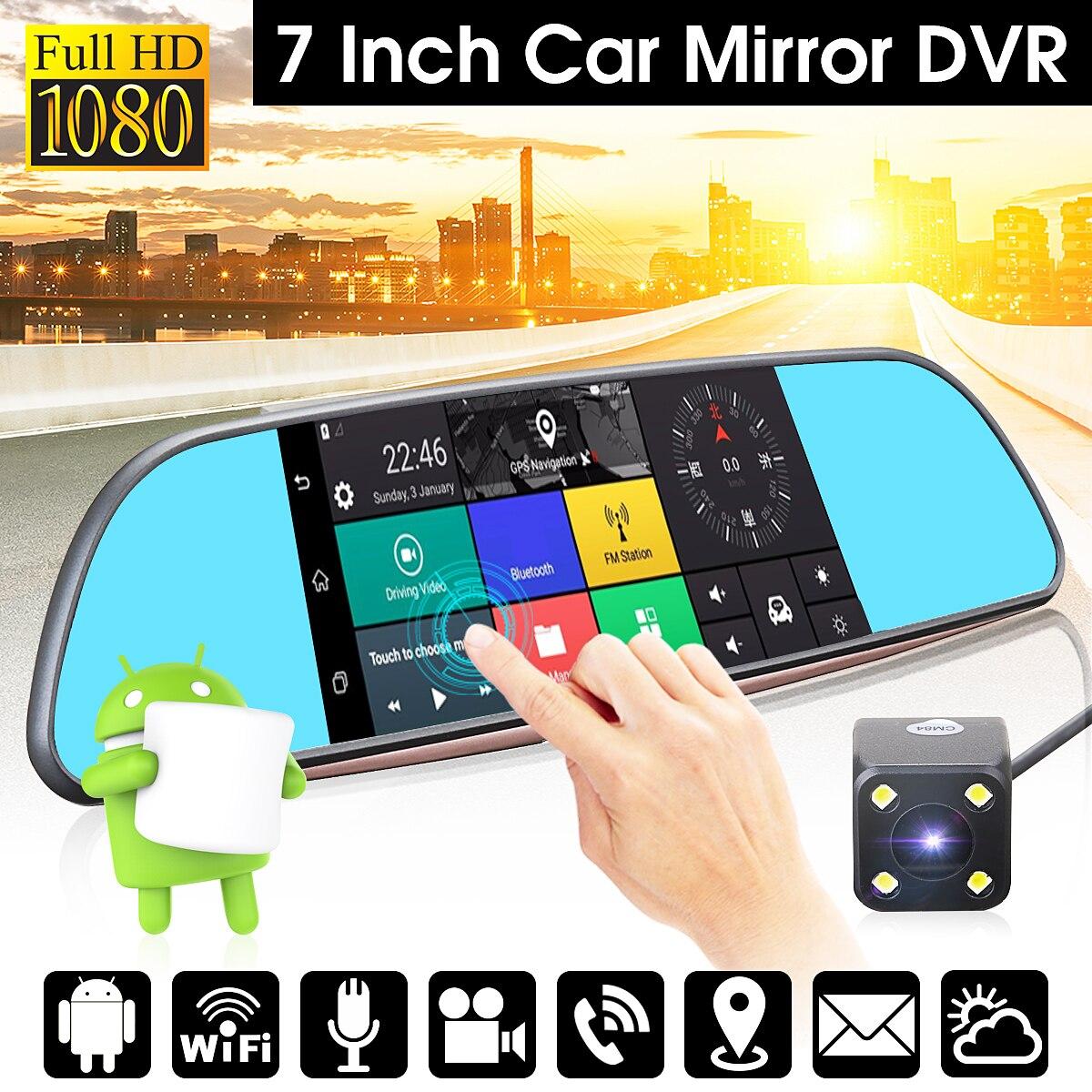 3G 7 Car DVR Mirror Camera Android 5.0 wifi GPS Full HD 1080P Video Recorder Dual Lens Registrar Rear view dvrs Dash cam wifi dual lens 5 hd 1080p car dvr video recorder g sensor rearview mirror dash camera auto registrar rear view dvrs dash cam