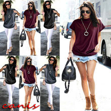 Ladies Batwing Sleeve Baggy Oversized Loose Fit Turn up Women O Neck T-Shirt Top plain loose round neck batwing sleeve t shirt