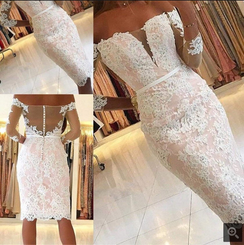 2019 Vestidos De Fiesta pink lace short sheath   prom     dress   off the shoulder long sleeve petite   prom   gowns informal   prom     dresses