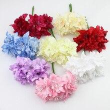 6 шт 5 см Искусственные Цветы орхидеи Букет, шелк цветок лилии Для Свадебный Венок Украшения Скрапбукинга