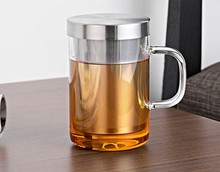 1PC Handmade Kung Fu tea cup Exquisite teapot filter heat-resistant glass elegant cup with stailess steel lid J1033