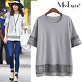 XXXL 4XL 5XL Plus Size T-shirts for Women 2017 Summer Fashion Lace Crochet Short Sleeve Loose Casual Long Tshirt Cotton Tops