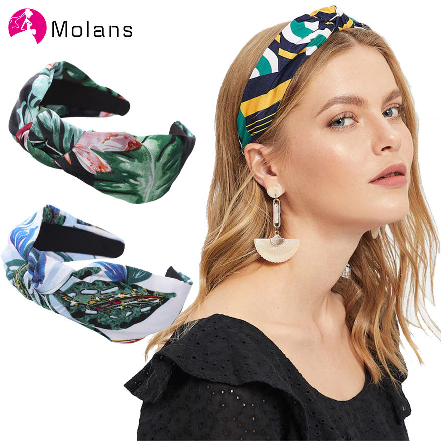 MOLANS 2019 Wide Boho Headband for Women Holiday Beach Hair Accessories Hairband Turban Print Knotted Headband Girls Head Band