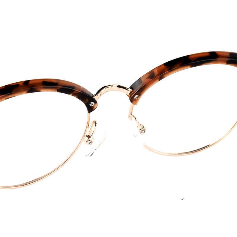 Half- Rim Metal Round Light Glasses Frame Women Retro Acetate Optical Myopia Reading Glasses Lady Luxury Brand Anti-Blue Frame