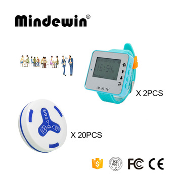 Mindewin Wireless Calling Systemv 2PCS Watch Pager M-W-1 and 20PCS Table Call Button M-K-4 Restaurant Wireless Table Bel