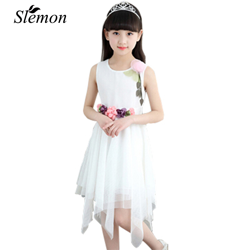 Summer 2018 Fashion Flower Girl Dress Children 3 5 6 8 10 12 Years Sleeveless Gauze Mesh Lace Party Wedding Dresses Kids Clothes girl dress 2017 summer girls style fashion sleeveless printed dresses teenagers party clothes party dresses for girl 12 20 years