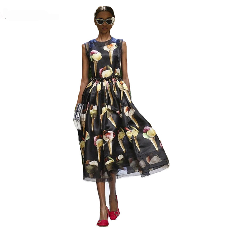 Occident Hot-Selling Ice Cream Printing Runway Dress 170405Z01 ...