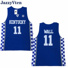 2a5cdc29e24 JazzyVten Men s  11 John Wall Basketball Jerseys Kentucky college jersey  White Blue Stitched 12 Karl-Anthony Towns Brand new