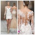 Короткое свадебное платье 2016 sexy V-образным Вырезом из бисера аппликации иллюзия с длинным рукавом кружева платье невесты цвета слоновой кости ПЛАТЬЕ DE NOIVA курто M6577