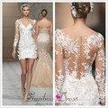 Vestido de novia corto 2016 sexy Cuello En V con cuentas apliques ilusión de manga larga de encaje vestido de novia de marfil VESTIDO DE NOIVA curto M6577