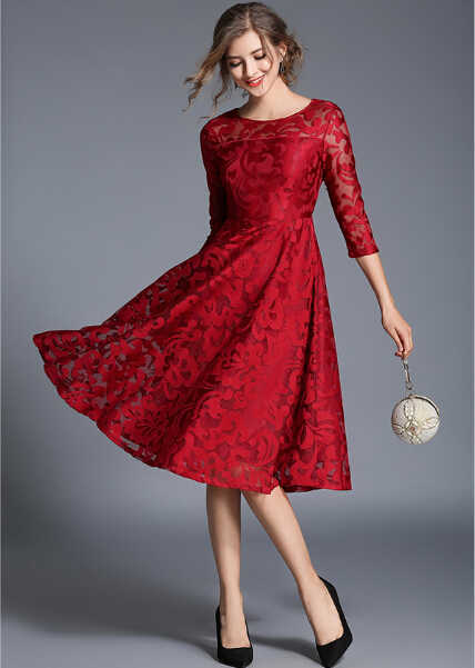 105a3ec9dd Beauty Emily Plus Size mother's dress burgundy Long Lace Mother Of The  Bride Dresses 2018 O-Neck Formal Wedding Party Gowns