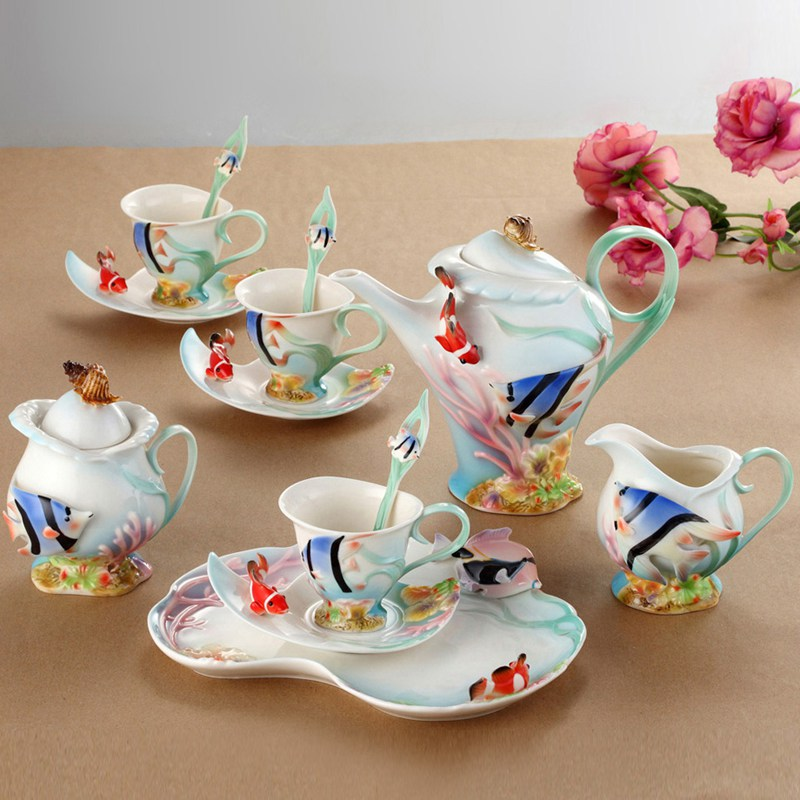 Yolife British Royal Porcelain Enamel Coffee Set Drinkware