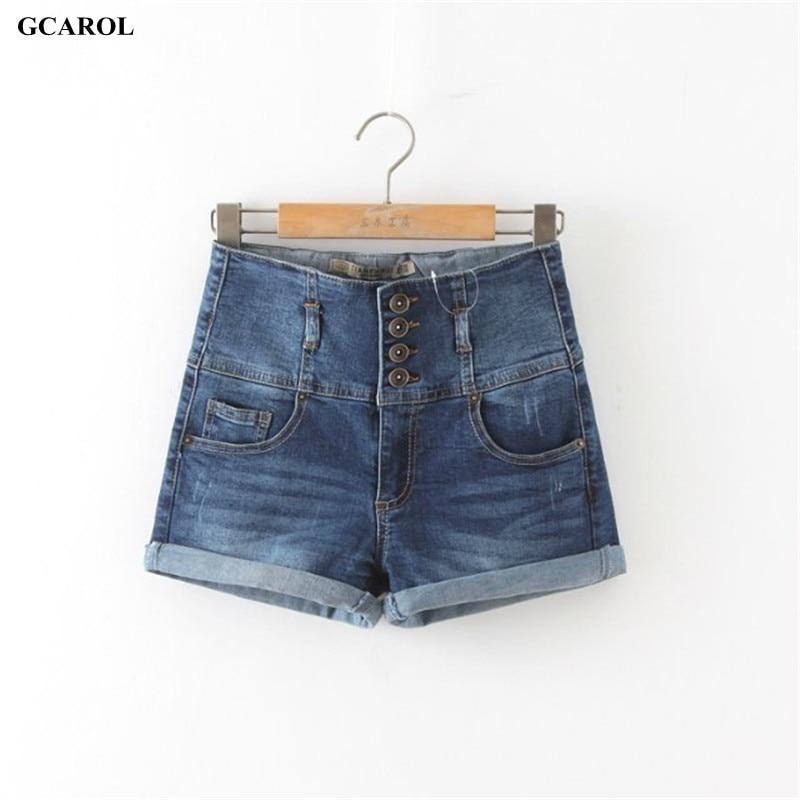 GCAROL 2017 Women 4 Button High Waist Denim Shorts Ladies Sexy Cuffed Shorts Sexy Hip denim Jeans 42 For Summer Spring Autumn