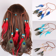 Pure color feather headwear colorful popular tourist attractions in Europe and  Indian accessories