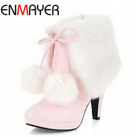 ENMAYER New 2015 Ankle Boots For Women Sexy Fashion Plush Balls Thin Heels Wedding Winter Snow