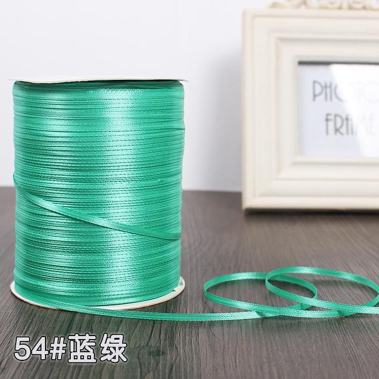 3 мм шелковые атласные ленты Рождество Хэллоуин Детский душ день рождения упаковка для свадебного подарка белый синий розовый зеленый фиолетовый ленты - Цвет: Blue Green
