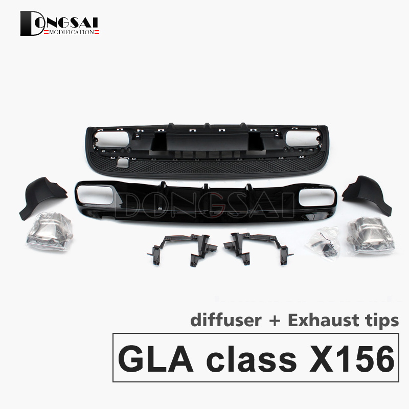 Mercedes X156 ABS Diffuser with 304 Stainless Steel 4-outlet Exhaust GLA45 Style Rear Diffuser For Benz GLA Class X156 Sport