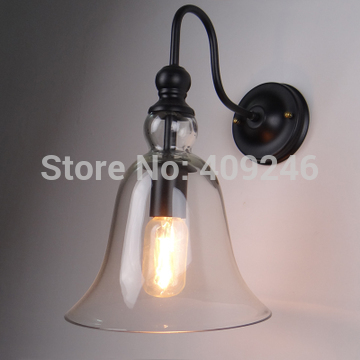 Edison Vintage Style Lamp RH Loft Clear Glass Bell Wall light 20CM Cafe Bar 200mm edison vintage iron ceiling lamp rh loft glass bell pendant light tea or clear color e27 bulb droplight