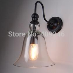 Edison stylu Vintage lampa RH Loft szkło bezbarwne dzwon światła na ścianie 20 CM Cafe Bar