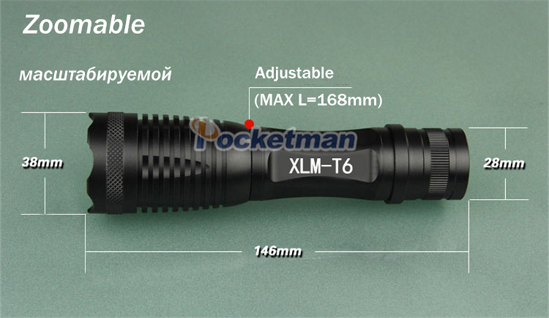 LED flashlight torch CREE XM-L T6 4000 Lumens High Power Focus lamp Zoomable light with one battery charger and sleeve