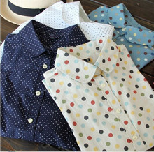 New 2014 Women Long Sleeve Blouse Polka Dot Shirts Cotton Made Slim Fit Design Seven Colors Four Sizes Button Through Front