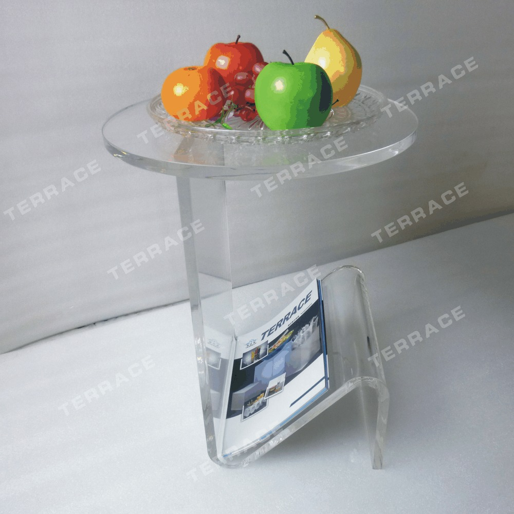 Round Top Lucite Acrylic coffee tea table with magazine rack for living room