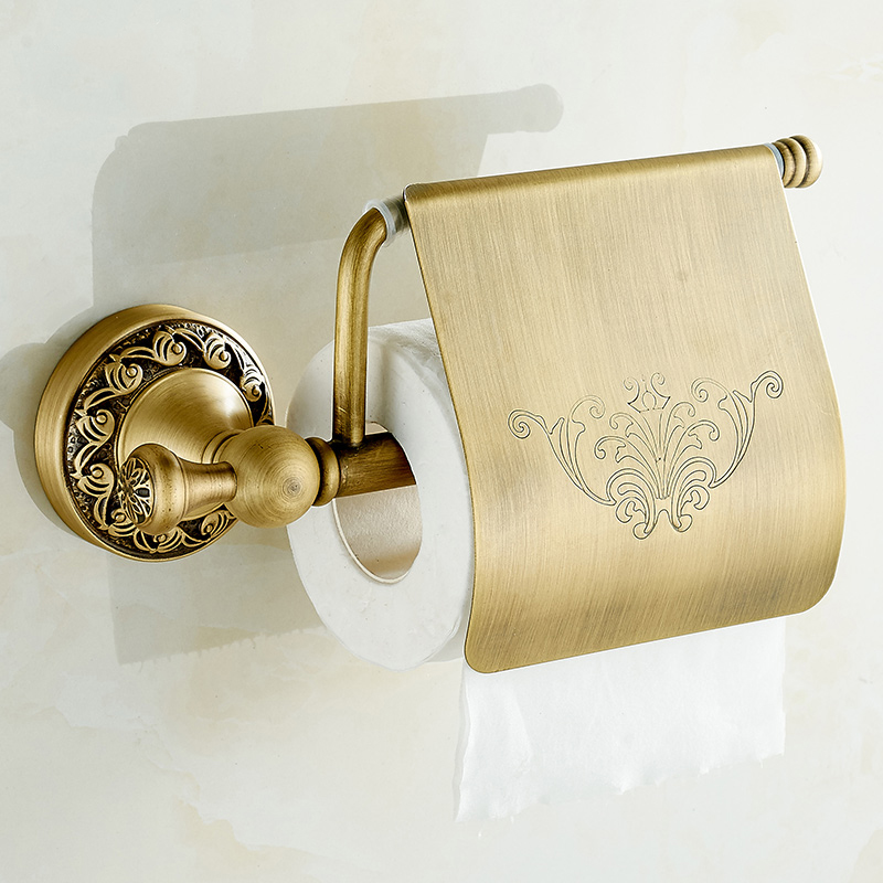 Wall Antique Style Toilet Paper Holder Copper Paper Towel Holder Roll Tissue Box Brass Bathroom