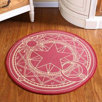 Детский ковер для спальни, мультяшный Розовый волшебный круг Сакура, Детский круглый игровой ковер, компьютерный стул, подвесная корзина, пазл, коврики