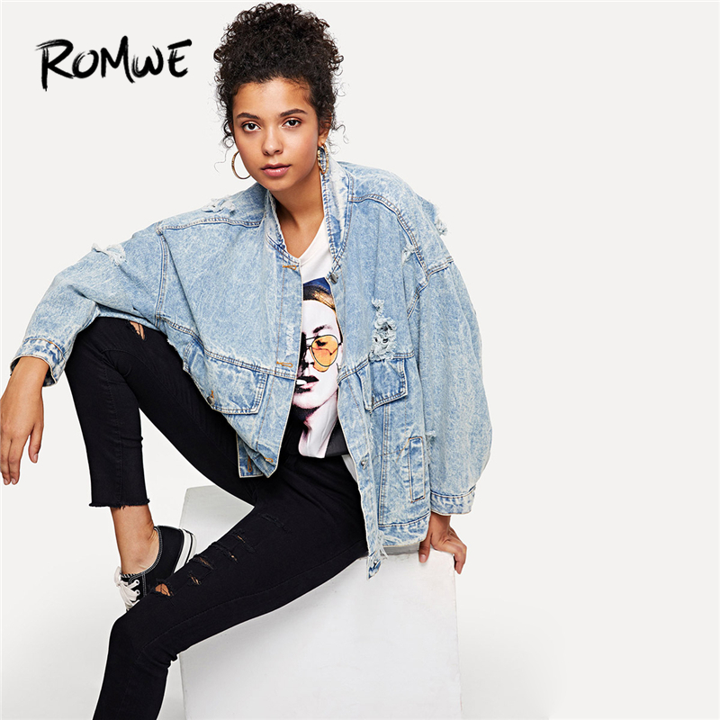 b1a820a7a17 Detail Feedback Questions about ROMWE Bleach Wash Ripped Denim Jacket Blue  Spring Women Casual Clothing Female Autumn Fashion Long Sleeve Oversized  Coat on ...