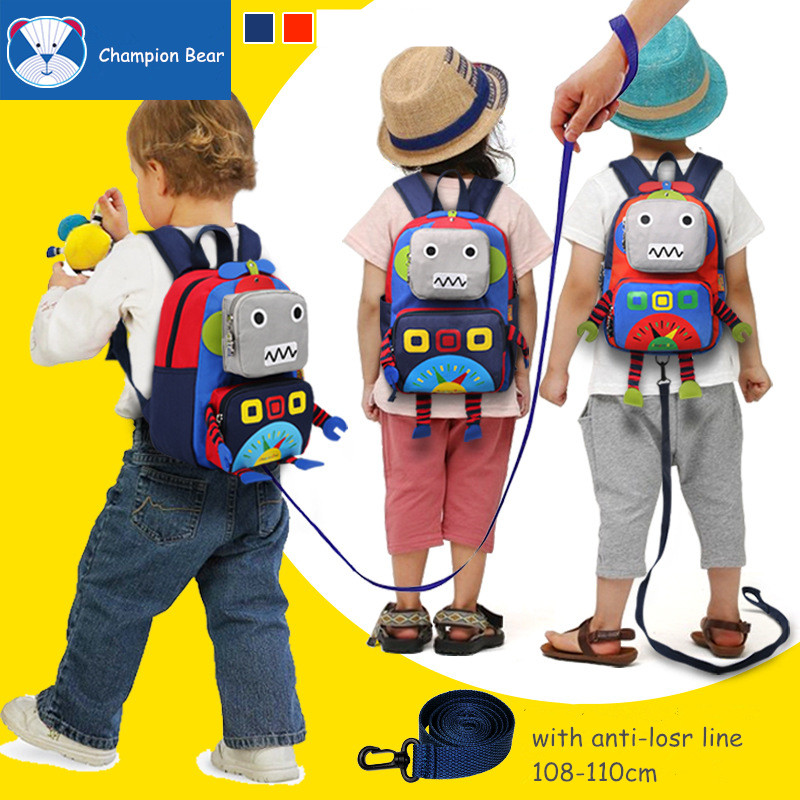 Aged 1 3 6 Harness Toddler Children Backpack Kids Bag Anti lost Robot School Bags For