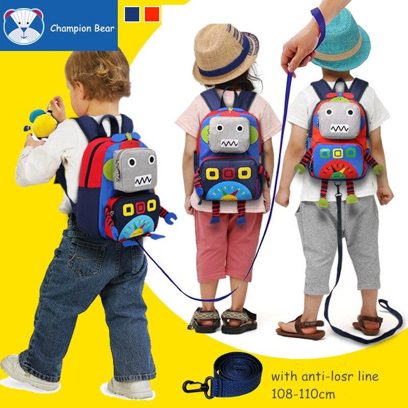 Aged 1 3 6 Harness Toddler Orthopedic Schoolbag Baby Backpack Kindergarten Kids Bag Anti lost Children