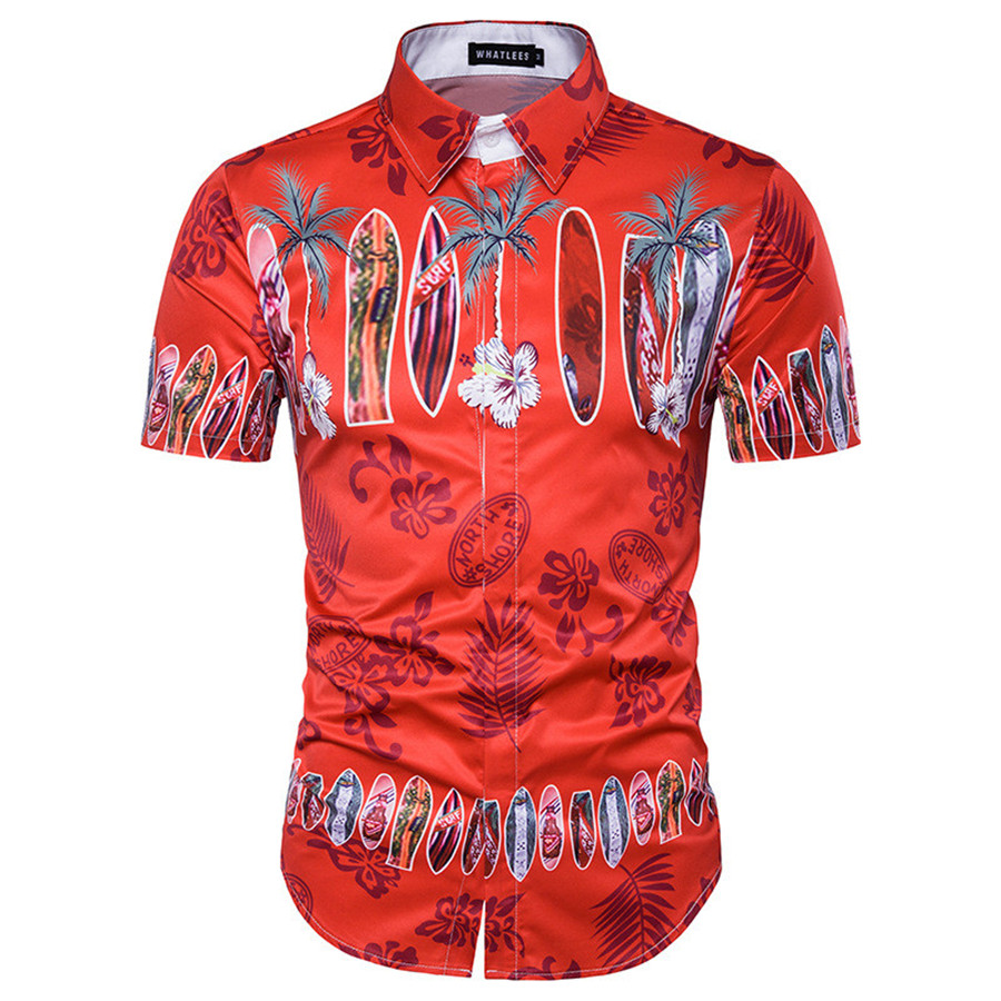 New Arrival 3D Printed Men Dress Shirt Hawaii Beach Shirt Vintage Design Red Shirt chemise homme Short Sleeve Shirts Men M-3XL ...