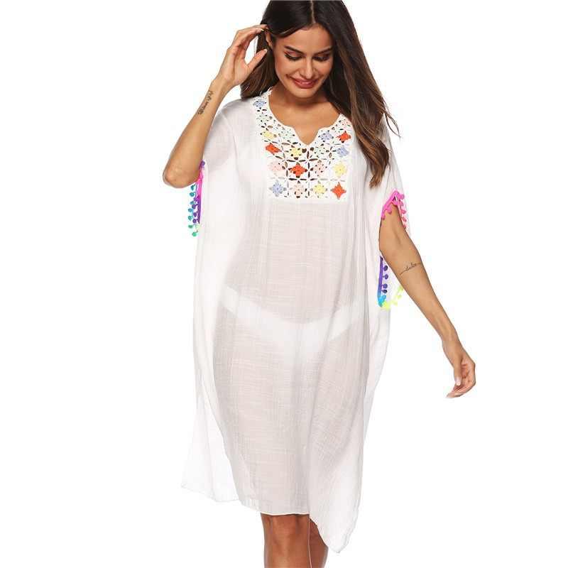 5480a308f2 New 2019 Sexy Kaftan Beach Wear Tunic Dress Women Swim Sundress Swimsuit  Cover Up Bohemia White