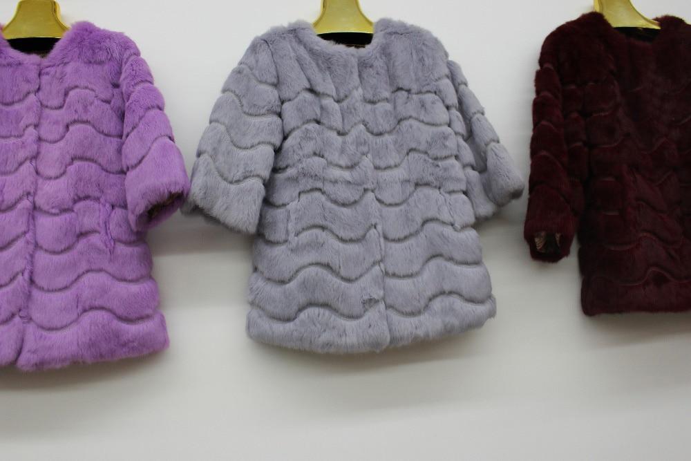Linhaoshengyue 2015 la peau de lapin à manches longues col montant manteau de fourrure - 2