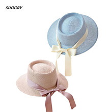 SUOGRY 2019 New Women Straw Hat Female Summer Sun Sweet Bow Knot Beach Fedoras