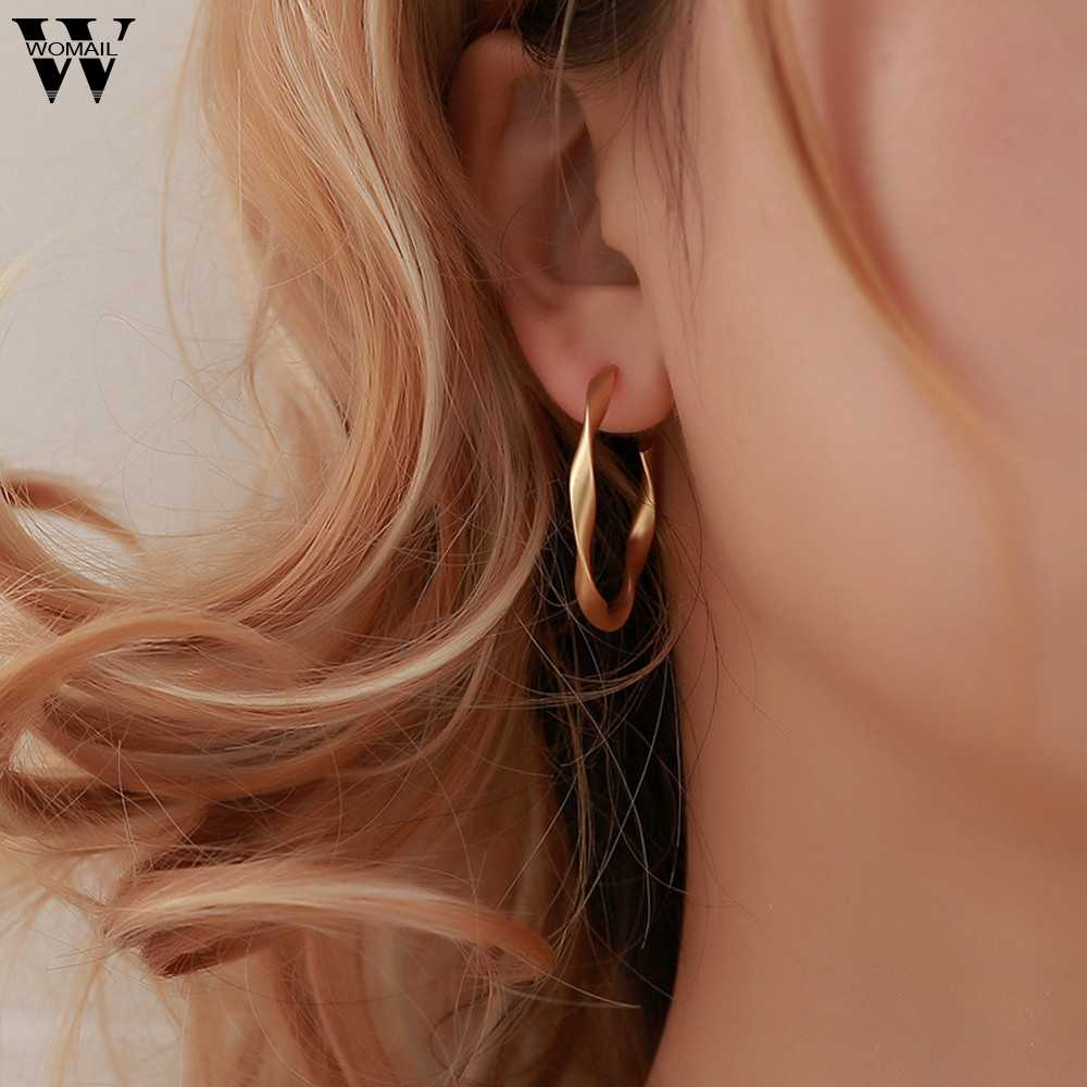 Punk Rock Minimalist GeometricDistortion Gold Alloy Round  Long Hollow Big Round Earrings Hiphop Rock Simple For Women