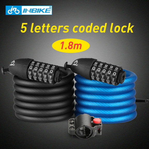 INBIKE 1.8m Bicycle Lock 5 Digital Combination Bike Cable Lock Anti-theft Coded Lock Bike Accessories замок велосипедный bike attitude cable lock w bracket
