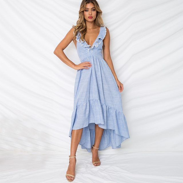Country Dresses Deep V Neck With Ruffle Sexy Backless High Low Asymmetrical L