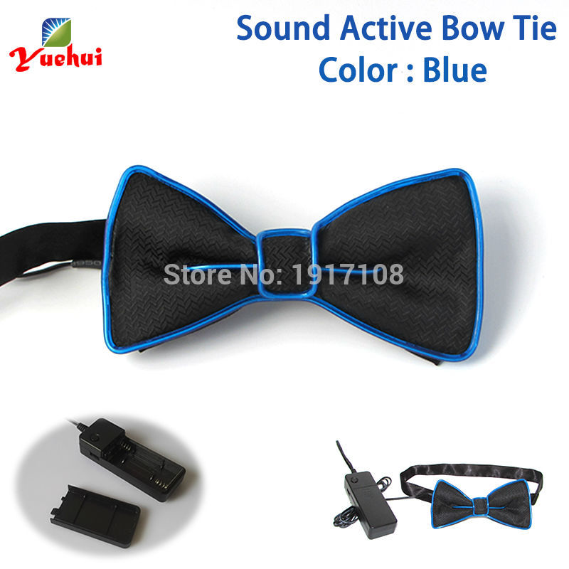 Hot selling DC-3V Powered Glowing Wedding decor 10 color LED Neon Bow tie Bowknot glowing Sound active EL bow tie as Party gift