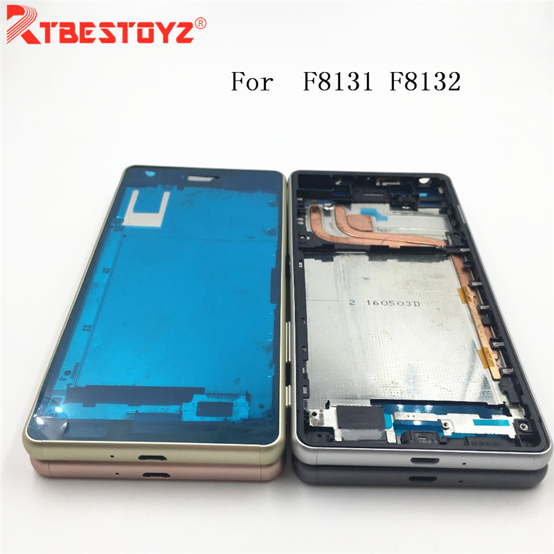 RTBESTOYZ Original New Front LCD Frame Bezel Housing With Side Button For Sony Xperia X Performance XP F8131 F8132
