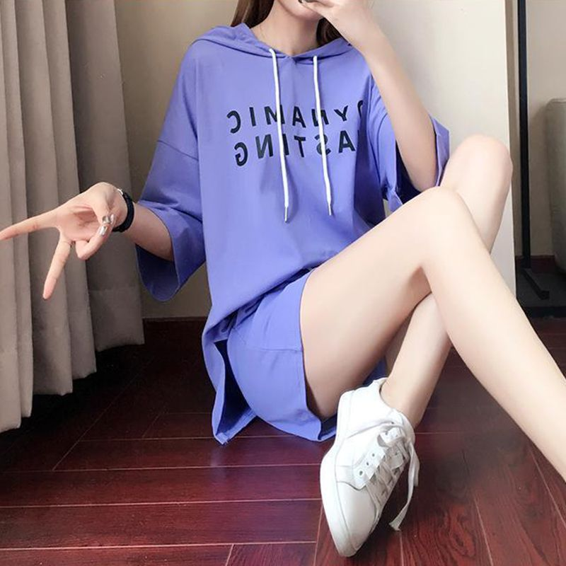 Women 2019 Summer Loose Simple Letter Print Hooded Short-sleeved Tops+ Drawstring Solid Color Shorts Two-Piece Female Suit