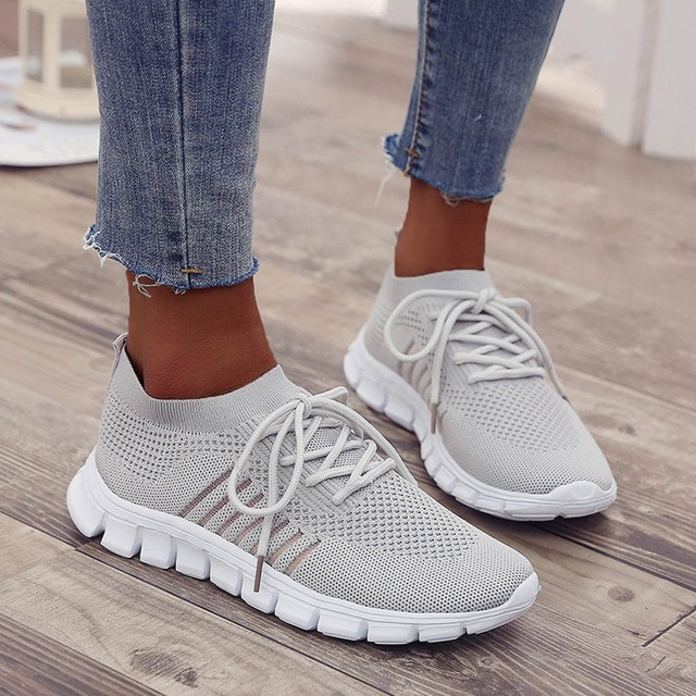 Women's breathable sneakers fashion Flying Weaving Socks Shoes Sneakers Casual Shoes Student Running Shoes sports shoes #39 3