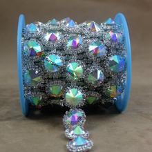 1yd Round Crystal AB Rhinestone Chain Sew On Diamond Applique Trims Costume  Banding For DIY Browband Wedding Dress Accessories 49b790dd7216