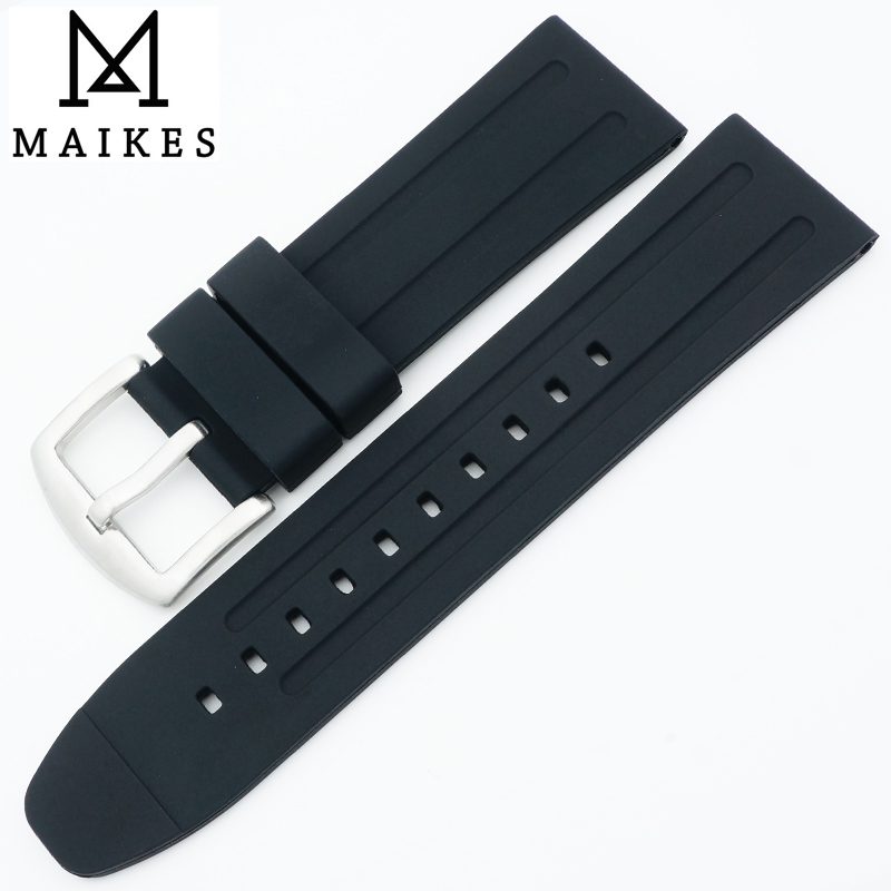 MAIKES Factory Direct Sale New 24mm Silicone Watch Strap Men Soft Comfortable Rubber Watchband For Sports Watch Men new premium promotional yu europe d41x d341x flange rubber seal butterfly valves factory direct quality assurance