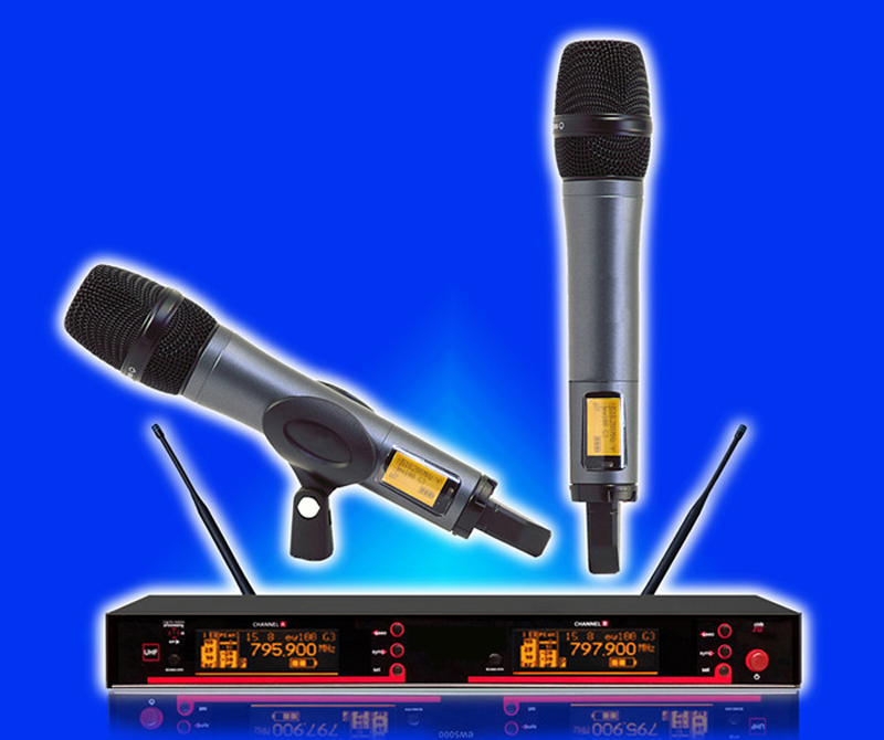 Free shipping EW100 EW135 G3 style UHF band frequency adjustable dual handheld vocal karaoke wireless microphone system bardl us 132 2 channels uhf infrared frequency lcd 200 frequency adjustable wireless microphone handheld lavalier headset