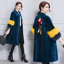 Falso casaco de pele 2017 das mulheres de inverno longo tamanho grande solto impresso casaco de pele feminina longo de lã plus size feminina outerwears jaquetas