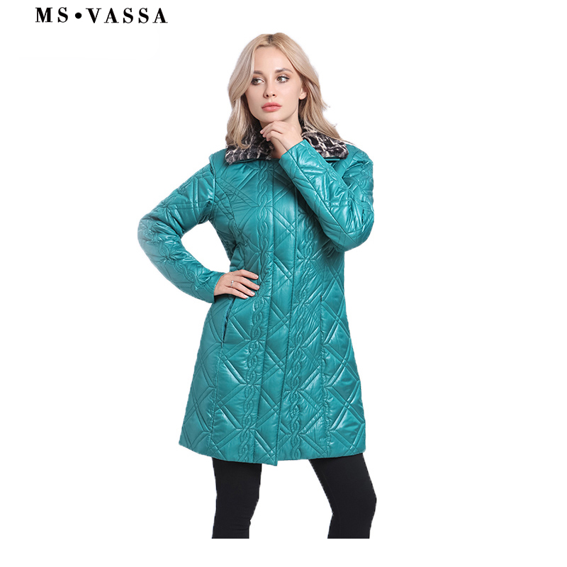 MS VASSA Women   Parkas   2017 New Winter Ladies jacket Turn-down collar with fake fur long coats plus size 7XL Female outerwear