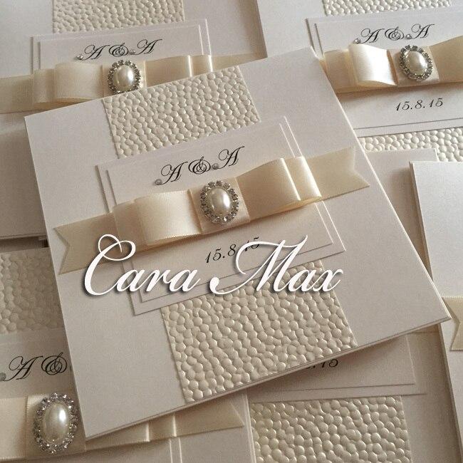 CA0651 Handmade Pretty Bow Wedding Invitations